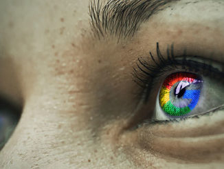 ögon med Google-loggan i pupillerna