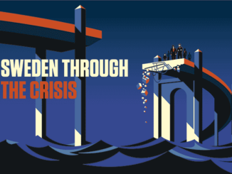 Sweden through the crisis. Illustration: Bo Lundberg